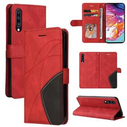Luxury Two-color Stitching Leather Wallet Case Cover for Samsung Galaxy A70 - Red