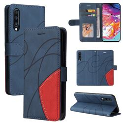 Luxury Two-color Stitching Leather Wallet Case Cover for Samsung Galaxy A70 - Blue