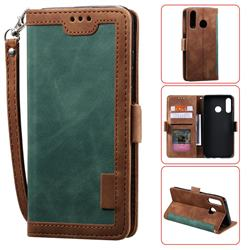 Luxury Retro Stitching Leather Wallet Phone Case for Samsung Galaxy A70e - Dark Green
