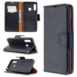 Classic Luxury Litchi Leather Phone Wallet Case for Samsung Galaxy A70e - Black
