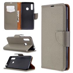 Classic Luxury Litchi Leather Phone Wallet Case for Samsung Galaxy A70e - Gray