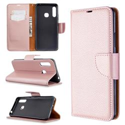 Classic Luxury Litchi Leather Phone Wallet Case for Samsung Galaxy A70e - Golden