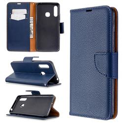 Classic Luxury Litchi Leather Phone Wallet Case for Samsung Galaxy A70e - Blue