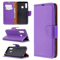 Classic Luxury Litchi Leather Phone Wallet Case for Samsung Galaxy A70e - Purple