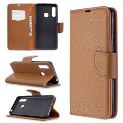 Classic Luxury Litchi Leather Phone Wallet Case for Samsung Galaxy A70e - Brown