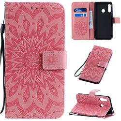 Embossing Sunflower Leather Wallet Case for Samsung Galaxy A70e - Pink