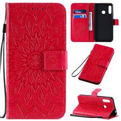 Embossing Sunflower Leather Wallet Case for Samsung Galaxy A70e - Red