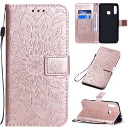 Embossing Sunflower Leather Wallet Case for Samsung Galaxy A70e - Rose Gold