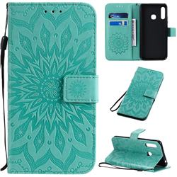 Embossing Sunflower Leather Wallet Case for Samsung Galaxy A70e - Green