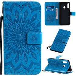 Embossing Sunflower Leather Wallet Case for Samsung Galaxy A70e - Blue