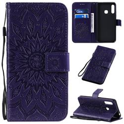 Embossing Sunflower Leather Wallet Case for Samsung Galaxy A70e - Purple