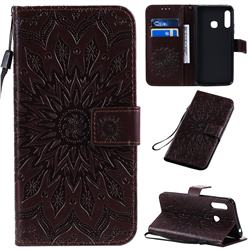 Embossing Sunflower Leather Wallet Case for Samsung Galaxy A70e - Brown