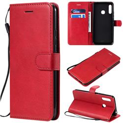 Retro Greek Classic Smooth PU Leather Wallet Phone Case for Samsung Galaxy A70e - Red