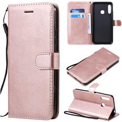 Retro Greek Classic Smooth PU Leather Wallet Phone Case for Samsung Galaxy A70e - Rose Gold