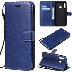 Retro Greek Classic Smooth PU Leather Wallet Phone Case for Samsung Galaxy A70e - Blue
