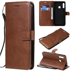 Retro Greek Classic Smooth PU Leather Wallet Phone Case for Samsung Galaxy A70e - Brown
