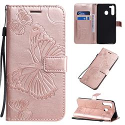 Embossing 3D Butterfly Leather Wallet Case for Samsung Galaxy A70e - Rose Gold