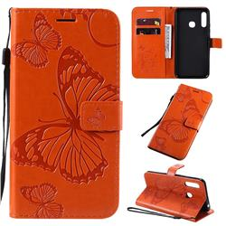 Embossing 3D Butterfly Leather Wallet Case for Samsung Galaxy A70e - Orange