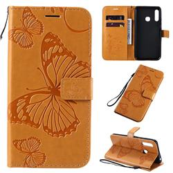 Embossing 3D Butterfly Leather Wallet Case for Samsung Galaxy A70e - Yellow