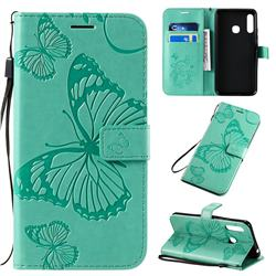 Embossing 3D Butterfly Leather Wallet Case for Samsung Galaxy A70e - Green