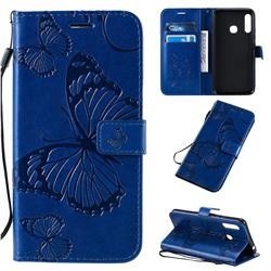 Embossing 3D Butterfly Leather Wallet Case for Samsung Galaxy A70e - Blue