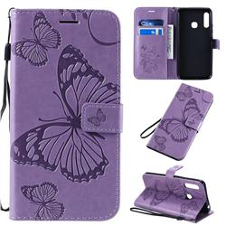 Embossing 3D Butterfly Leather Wallet Case for Samsung Galaxy A70e - Purple