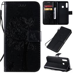 Embossing Butterfly Tree Leather Wallet Case for Samsung Galaxy A70e - Black