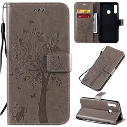 Embossing Butterfly Tree Leather Wallet Case for Samsung Galaxy A70e - Grey