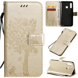 Embossing Butterfly Tree Leather Wallet Case for Samsung Galaxy A70e - Champagne