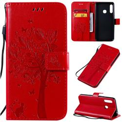 Embossing Butterfly Tree Leather Wallet Case for Samsung Galaxy A70e - Red