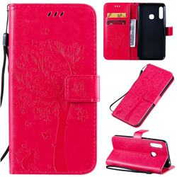 Embossing Butterfly Tree Leather Wallet Case for Samsung Galaxy A70e - Rose