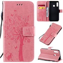 Embossing Butterfly Tree Leather Wallet Case for Samsung Galaxy A70e - Pink