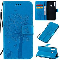 Embossing Butterfly Tree Leather Wallet Case for Samsung Galaxy A70e - Blue