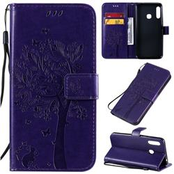 Embossing Butterfly Tree Leather Wallet Case for Samsung Galaxy A70e - Purple