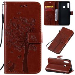 Embossing Butterfly Tree Leather Wallet Case for Samsung Galaxy A70e - Coffee