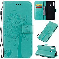 Embossing Butterfly Tree Leather Wallet Case for Samsung Galaxy A70e - Cyan