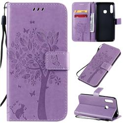 Embossing Butterfly Tree Leather Wallet Case for Samsung Galaxy A70e - Violet