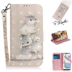 Three Squirrels 3D Painted Leather Wallet Phone Case for Samsung Galaxy A70e