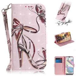 Butterfly High Heels 3D Painted Leather Wallet Phone Case for Samsung Galaxy A70e