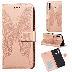 Intricate Embossing Vivid Butterfly Leather Wallet Case for Samsung Galaxy A70e - Rose Gold
