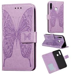 Intricate Embossing Vivid Butterfly Leather Wallet Case for Samsung Galaxy A70e - Purple