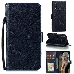Intricate Embossing Lace Jasmine Flower Leather Wallet Case for Samsung Galaxy A70e - Dark Blue