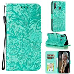 Intricate Embossing Lace Jasmine Flower Leather Wallet Case for Samsung Galaxy A70e - Green