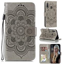 Intricate Embossing Datura Solar Leather Wallet Case for Samsung Galaxy A70e - Gray