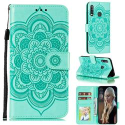 Intricate Embossing Datura Solar Leather Wallet Case for Samsung Galaxy A70e - Green