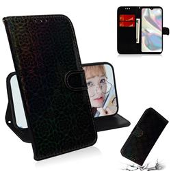 Laser Circle Shining Leather Wallet Phone Case for Samsung Galaxy A70e - Black