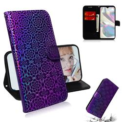 Laser Circle Shining Leather Wallet Phone Case for Samsung Galaxy A70e - Purple