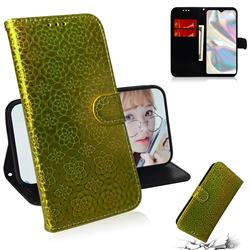 Laser Circle Shining Leather Wallet Phone Case for Samsung Galaxy A70e - Golden
