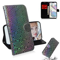 Laser Circle Shining Leather Wallet Phone Case for Samsung Galaxy A70e - Silver