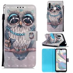 Sweet Gray Owl 3D Painted Leather Wallet Case for Samsung Galaxy A70e